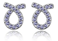 HOT! Free shipping mix wholesale! Crystal Earrings ,fashion jewelry,make with Swarovski Crystal (6-Colors)-2394
