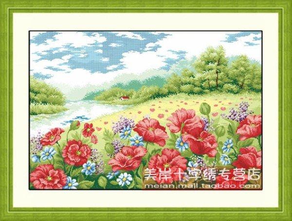 Bordado chinês Thomas ponto-cruz suíte poppy cenário séries TD106 papoula jardim pendurar um quadro para a sala de estar(China (Mainland))