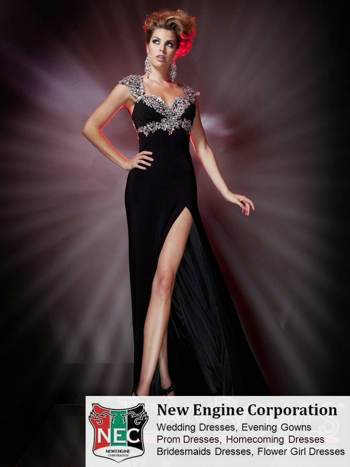 Slim A line gown prom and evening dress with crystal cap sleeves Queen Anne neckline Empire waist band black and red color(China (Mainland))