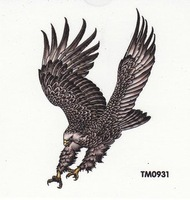 Free shipping wholesales waterproof tattoos sticker cool black flying eagle