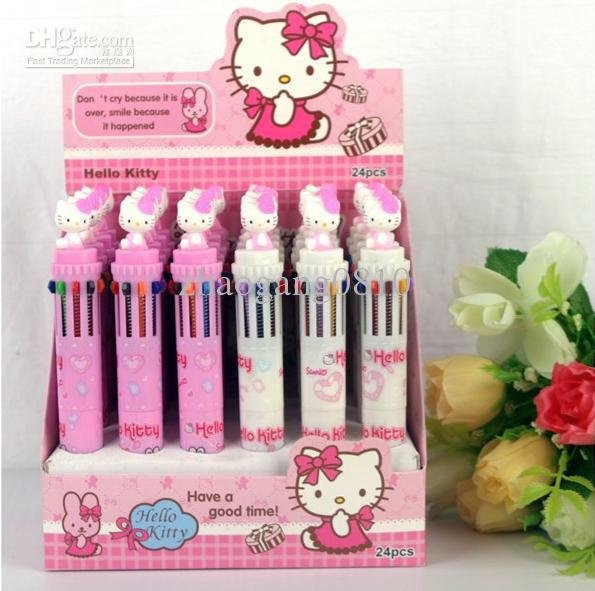 Wholesale - Lovely Hello Kitty ball-point pen(10 colors in 1) ball point pen ballpoint biro(China (Mainland))