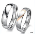 Heart Shape Matching Titanium Steel Promise Ring Couple Wedding Bands Many Sizes GJ284