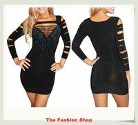 FREE SHIPPING 2014 New Sexy Women Rhinestone Hole Dress Black Fashion Ladies' Mini Party Dress One Size NA2366