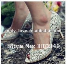 BS293 ladies glitter jeweled rhinestones peep toe bridal wedding shoes(China (Mainland))