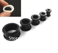 Black Silicone Ear Earlets Tunnels Plugs Mixed size body jewelry 160pcs/lot