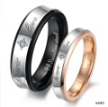 Stainless Steel Black Gold Plated Forever Love Wedding Band Couple Ring Size 5-11 GJ283