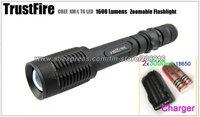 Trustfire Z5 Flashlight 5 Mode 1600 Lumens CREE XM-L T6 LED Flashlight  Zoomable Flashlight Adjustable Torch+2 battery+charger