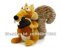 Wholesaler Cute Cartoon Ice Age Squirrel Scrat Plush Stuffed Soft Animal toys 35cm Soft Cartoon toy +Free shipping