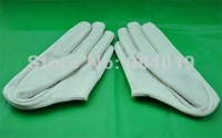 White Sexy Lady 5 Fingers Half Palm Genuine Leather Gloves Size L