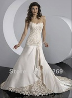 Free Shipping ND-10 Custom-made  Embroidery Lace  Strapless High Quality  Satin  Wedding Dresses