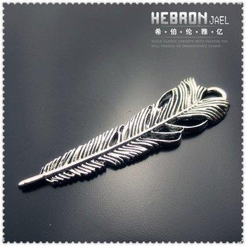 Free ship Tibetan Silver (50pcs) Zinc Alloy Jewelry Accessories Feather Pendants(3754#) 12*43 mm