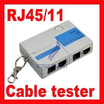 Free shipping 9 LED RJ45 RJ-45 RJ11 Mini Cat5 Network LAN Cable Tester tool with Key Ring 220