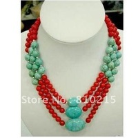 Beautiful ! 3 Rows red coral & blue turquoise necklace 18''-20''inchs Fashion woman's jewellery new free shipping wholesale