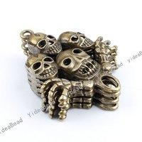 Wholesale 6pcs New  Arrival Fashion Antique Bronze charm skull shape pendant  Fit Necklaces, handmadke Crafts 140928