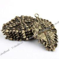 Wholesale 6pcs New  Arrival Fashion Antique Bronze charm skull shape pendant  Fit Necklaces, handmadke Crafts 140929