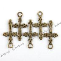 Wholesale 180pcs New Arrival Antique Bronze charm cross shape pendant  Fit Necklaces, handmadke Crafts 140944