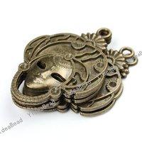 Wholesale 10pcs New Arrival Antique Bronze charm mask shape pendant  Fit Necklaces, handmadke Crafts 140945