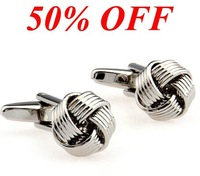 50% off Promotion!! free shipping 2pairs/lot Metal Knot Cufflinks wholesale anti-oxidation 100%guaranteed quality+free return