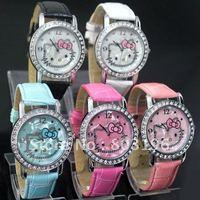 Hot Sale Free shipping 25PCS Hello Kitty Fashion Women wrist watch 049