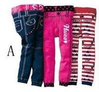 New 3pcs/lot baby girls tights, cotton slim pants,infants trouers mixed designs