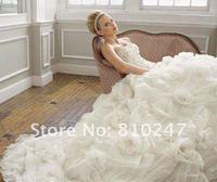 2013 new boutique luxury long tail wedding dress elegant the Palace Tingou organza handmade flowers Bra