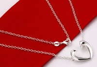 Free Shipping Silver Plated Necklace!Wholesale Pendant Necklace.Fashion Silver Jewelry.Beautiful Open Heart Necklace For Woman!