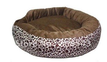 Free shipping! MOQ: 1pc ,  Hot selling donut dog bed, round cozy pet bed,  leopard design, all covers can be removed for wash!
