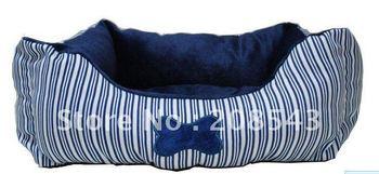 Free shipping! MOQ: 1pc ,  New arrival retangular summer strip dog bed, summer bone stripe pet bed, dog house, dog bed