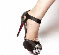 2012 Classique Genuine Leather Black Hasp Women's 120mm High Heels Pumps Shoes