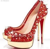 Classique Rivet Red Genuine Leather Lady Peep toe Platform High Heels Pump Shoes