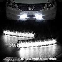 Free shipping White 5W 8LEDs car led daytime running light Car Light Aux DRL Daytime Running Light Foglight car DRL