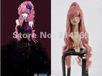 "20""+35inches High Quality Anime Manga MIKU LUKA Deep Pink Split Long Wavy Curl Cosplay Wigs,Halloween Party Hair,Beauty Wigs"