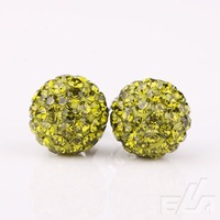 fashion rhinestone olive green ball 10mm stud Shambala earring stud Earrings crystal jewelry