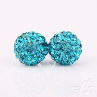 Fashion Shamballa 10mm 925 Silver Round Ball Pave Beads Rhinestone Crystal Stud Earrings women Jewelry