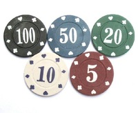 Texas Holder'em /Baccarat /Blackjack Clay Composite chips 4-Gram Poker chips,choose from 5 color