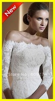 Free Shipping 2012 Hot Sale 3/4 Sleeves Lace Applique White Ivory Bridal Wraps Jackets Wedding Boleros Dresses Gowns