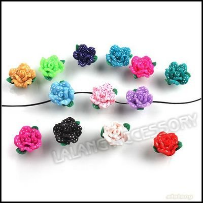 NEW 90pcs/lot Hot Sale Mix 15 Colors Clay Polymer Flower Bead Charms Bead 15*15*8mm Fit Jewelry Handcraft Free Shipping 110465+(China (Mainland))