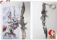 "Wholesale Bigger  6.5"" Final Fantasy XIII :Lightning Sword Keychain Anime Gift Free shipping"