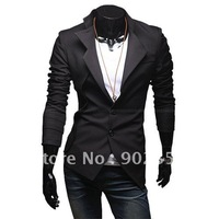 free shipping new suit for men irregular front design single breasted  jacket slim suit modern jacket men black /pink  M-XXL X10
