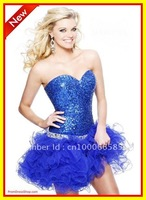 Costom 2012 Fashion Sweetheart  Beaded  Mini Open back  Organza Homecoming Dresses Evening Party Cocktail Dress
