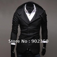 free shipping new suit for men  single breasted jacket slim suit hooded modern jacket men black /khaki M-XXL X09