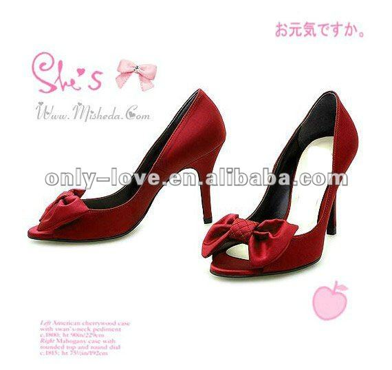 BS244 high heel open toe satin bow women's bridal wedding shoes party shoes(China (Mainland))