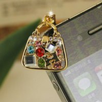 Hot Sale Charming Cute Crystal Hand bag Anti Dust Plug for ipad Stopper Set Dustproof earphone for Iphone 4 4th 4G 4S