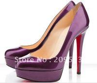 Classique Purple Patent Leather Bianca 140mm Platform Heels Pump Shoes,eur 35-41