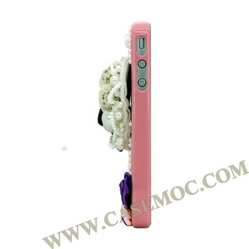 Rose Heart Design Crystal Jewelry Case Cover for iPhone 4S/ iPhone 4(Pink)