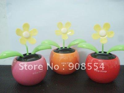 flip flap solar flower yellow 5leaves 15pcs per lot Free shipping(China (Mainland))