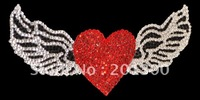 HOT! fashion crystal car decal(heart with wings),FREE SHIPPING! ITEM# WST005