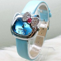 30PCS/LOT EMS Free shipping Lovely Hello Kitty wrist watch Fashion Children watches womens watch Leather watchband Gift watch