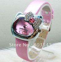 50PCS/LOT EMS Free shipping Lovely Hello Kitty wrist watch Fashion Children watches womens watch Leather watchband Gift watch