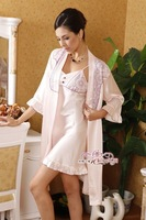 free shipping 100% mumberry silk satin slip/robes/ sets sleepwear for women 2pcs per pack